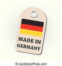 Hang tag made in Germany with flag. Vector illustration on isolated background.