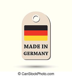 Hang tag made in Germany with flag. Vector illustration on white background.