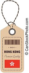 Hang Tag Made In Hong Kong With Flag Icon Isolated On A White Background. Vector Illustration.