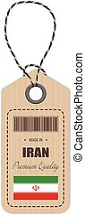 Hang Tag Made In Iran With Flag Icon Isolated On A White...