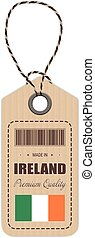 Hang Tag Made In Ireland With Flag Icon Isolated On A White Background. Vector Illustration.