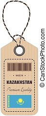 Hang Tag Made In Kazakhstan With Flag Icon Isolated On A White Background. Vector Illustration.