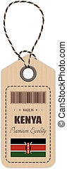 Hang Tag Made In Kenya With Flag Icon Isolated On A White Background. Vector Illustration.