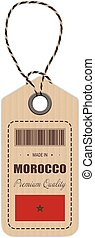 Hang Tag Made In Morocco With Flag Icon Isolated On A White Background. Vector Illustration.