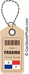 Hang Tag Made In Panama With Flag Icon Isolated On A White Background. Vector Illustration.