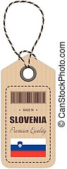 Hang Tag Made In Slovenia With Flag Icon Isolated On A White Background. Vector Illustration.
