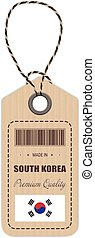 Hang Tag Made In South Korea With Flag Icon Isolated On A White Background. Vector Illustration.