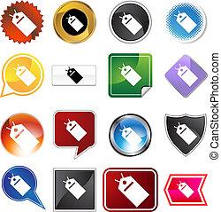 hang tag variety icon set
