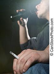 hang, til, rygning, og, alkohol