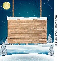 hang wood board sigh on christmas winter lake