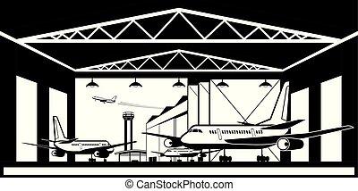 hangar avión, en, aeropuerto