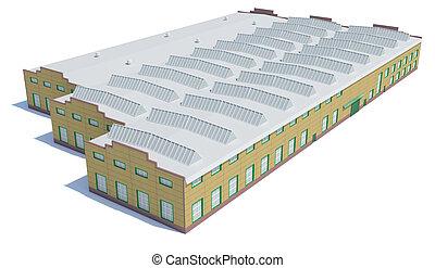 hangar, edificio., aislado, blanco