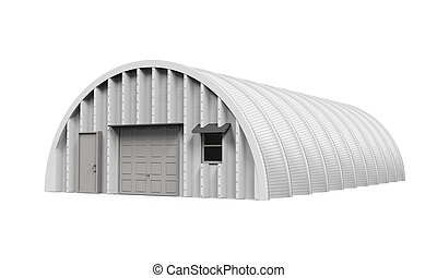 hangar, edificio, aislado