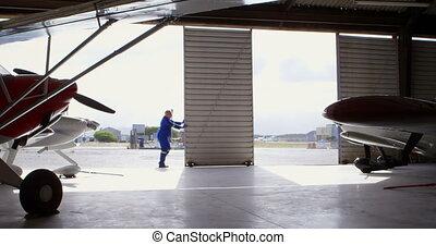 hangar, fermer, ingénieur, 4k, portail