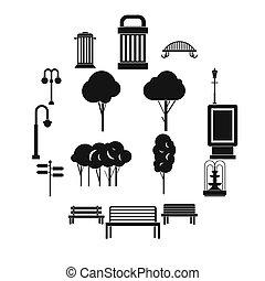 hangar, iconos, conjunto, simple, ctyle