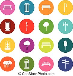 Hangar icons many colors set