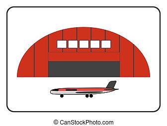 hangar, ikona, z, samolot, w, przedimek określony przed rzeczownikami, ułożyć