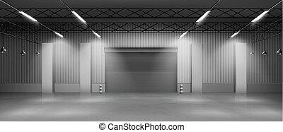 hangar, interior, vector, vacío, realista, almacén