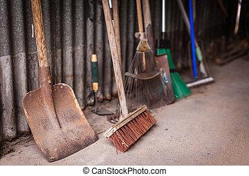 hangar, outils, jardin