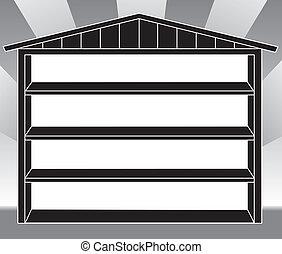 hangar, stockage, étagères