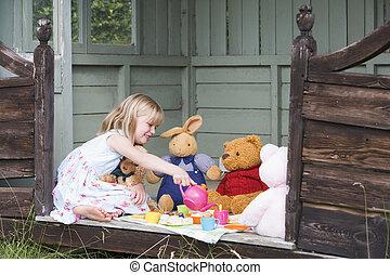 hangar, thé, jeune, fille souriante, jouer
