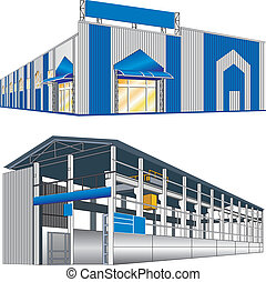 Isolated big hangar on a white background, vector illustration