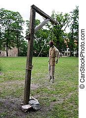 hanged, mann, in, galgen