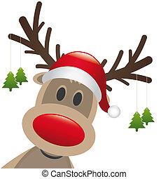 hangen, boompje, rendier, neus, kerstmis, rood