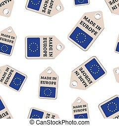 hangen, label, gemaakt, in, europa, sticker, met, vlag, seamless, model, achtergrond., zakelijk, plat, vector, illustration., gemaakt, in, europa, meldingsbord, symbool, pattern.