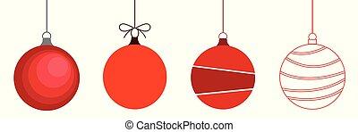 hangend, achtergrond, kerstmis, rood, set, gelul, witte