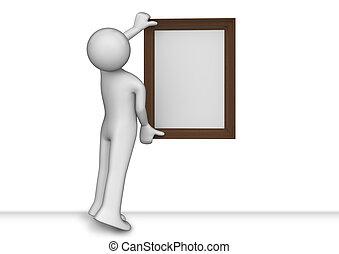 hangend, enig, afbeelding, in, de, frame