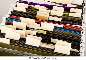 hangend, folders, en, etiket