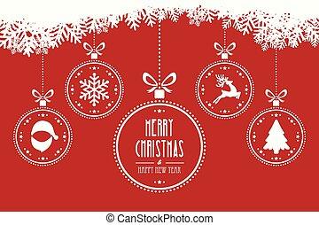 hangend, gelul, kerstmis, achtergrond, rood