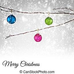 hangend, gelul, kerstmis, tak, besneeuwd
