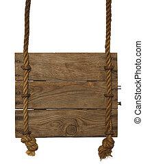 hangend, houten teken