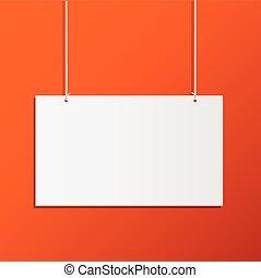 hangend, illustratie, meldingsbord