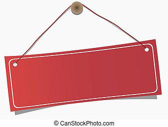 hangend, kopie, etiket, rood, ruimte