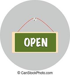 hangend, open teken