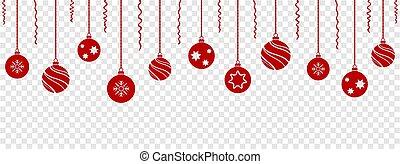 hangend, rood, set, kerstballen, gelul