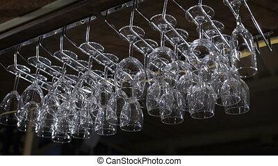 hangend, wineglasses, selectieve nadruk, kleur,...
