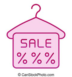 Hanger and sale tag flat icon. Special offer pink icons in trendy flat style. Discount label gradient style design, designed for web and app. Eps 10.