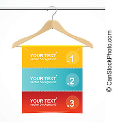 hanger, headers., zoals, jas, hout, tekst