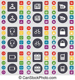 Hanger, Network, Film camera, Headphones, Bicycle, Lock, Battery, Calendar, Mobile phone icon symbol. A large set of flat, colored buttons for your design. Vector