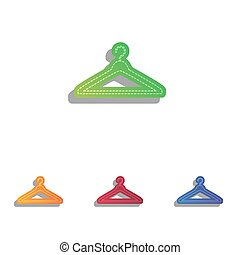 Hanger sign illustration. Colorfull applique icons set.