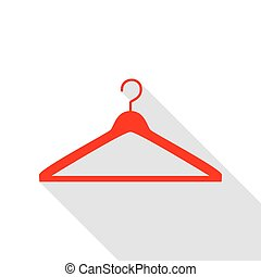 Hanger sign illustration. Red icon with flat style shadow path.