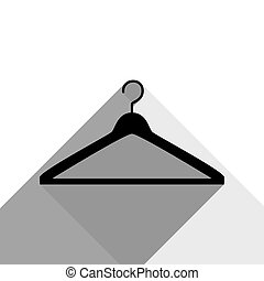 Hanger sign illustration. Vector. Black icon with two flat gray shadows on white background.