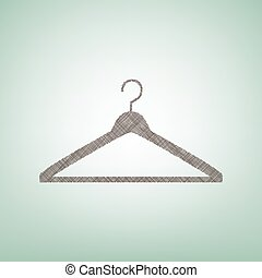 Hanger sign illustration. Vector. Brown flax icon on green background with light spot at the center.