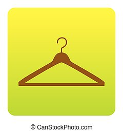 Hanger sign illustration. Vector. Brown icon at green-yellow gradient square with rounded corners on white background. Isolated.