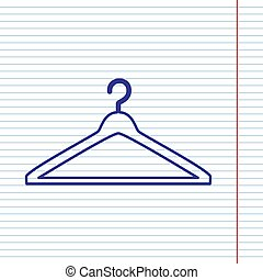Hanger sign illustration. Vector. Navy line icon on notebook paper as background with red line for field.