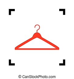 Hanger sign illustration. Vector. Red icon inside black focus corners on white background. Isolated.
